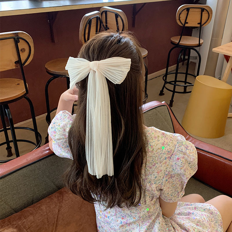 2021 New Women Large Bow Hairpin Chiffon Mesh Big Bowknot Chiffon Ribbon Hairband Clip Lady Girls Spring Clip Hair Accessory