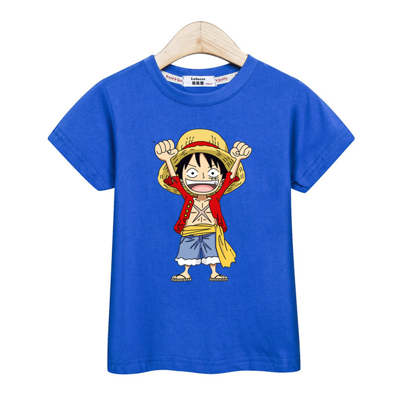 Little Luffy boys shirt new casual tops kids costume short sleeve cotton t-shirt One Piece Anime tees for teen boys 3-14T 5