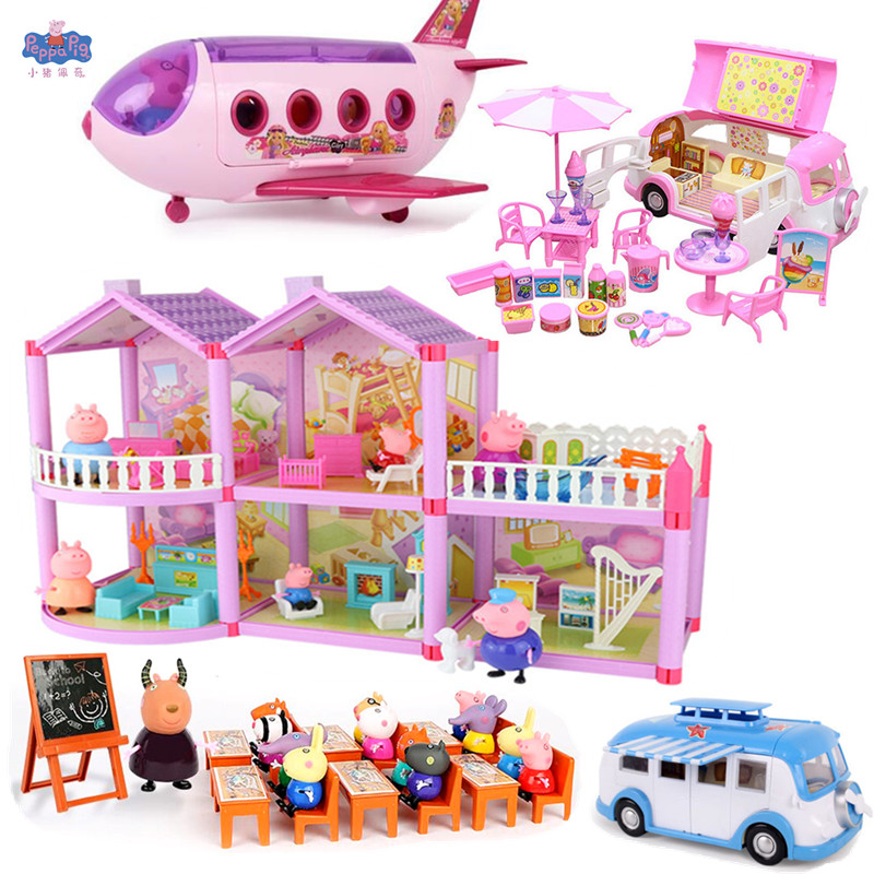 Peppa Pig Little Girl George Family Friends Real Scene Airplane House Model Action Toy Child Birthday Christmas Gift