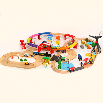 Road rail double-layer Electric train colored wooden track toy children track toy track set compatible with wooden train tracks