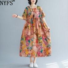 Женское винтажное длинное платье nyfs свободное с принтом летнее