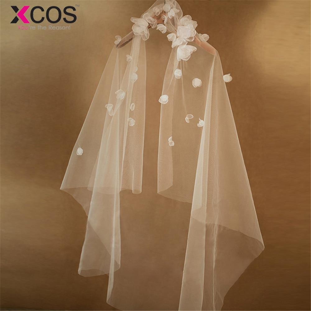 XCOS Voile Mariage  Hip Length 1.1M Veil One Layer White Cathedral Wedding Veil Bridal Veil Wedding Accessories Veu De Noiva