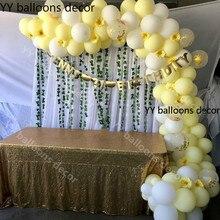 110 adet Pastel 10 inç Maca sarı beyaz balon 1 kemer düğün bebek duş doğum günü partisi zemin bant duvar küresel dekor