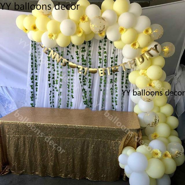 110pcs פסטל 10 אינץ מאקה צהוב לבן בלון 1 קשת חתונה תינוק מקלחת מסיבת יום הולדת רקע קלטת קיר הגלובלי דקור