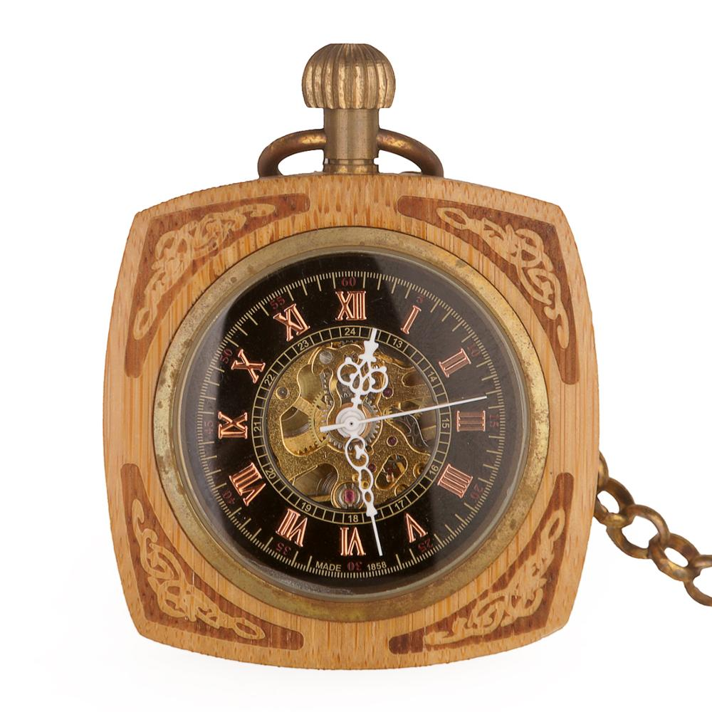 Retro Pocket Watch Automatic Mechanical Antique Square TV Clock Roman Hand-winding Watch FOB Chain Unisex For Men Women Gifts