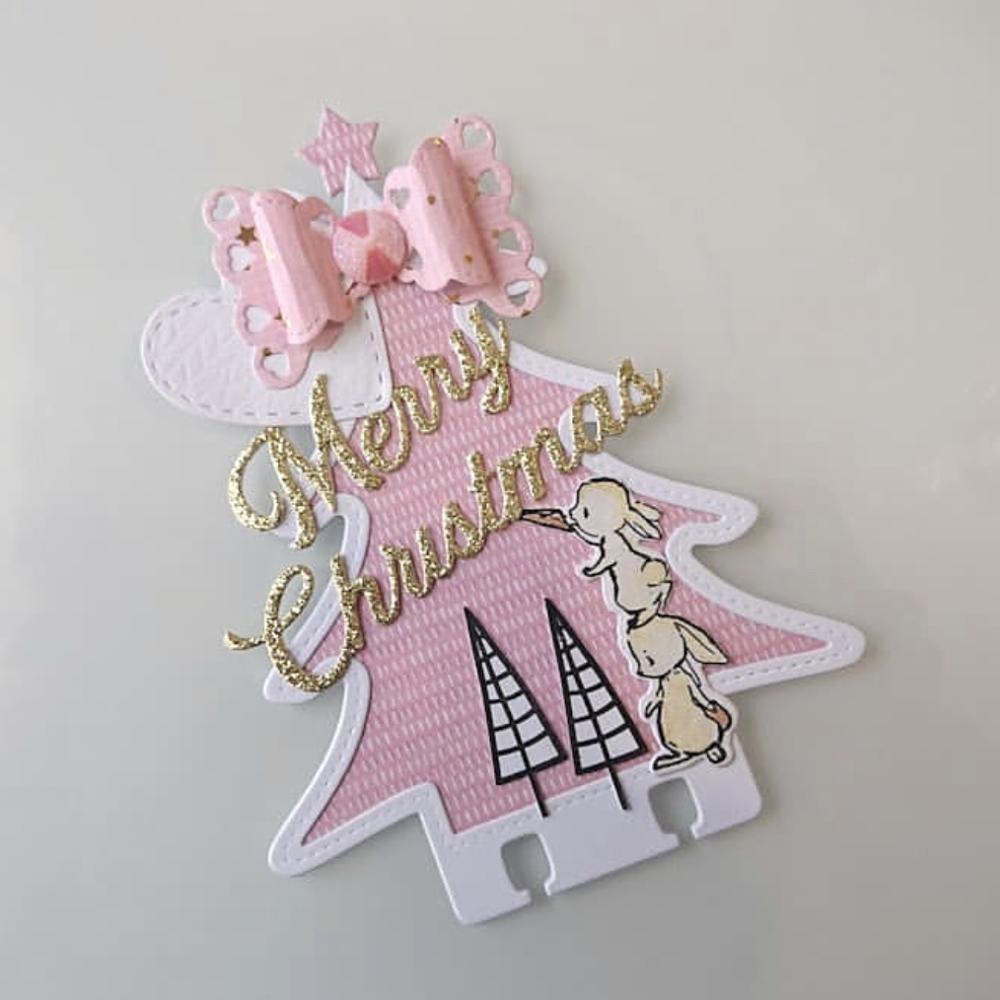 KSCRAFT трафареты для рождественской елки, металлические режущие штампы для скрапбукинга, декоративное тиснение, бумажные карты для рукоделия