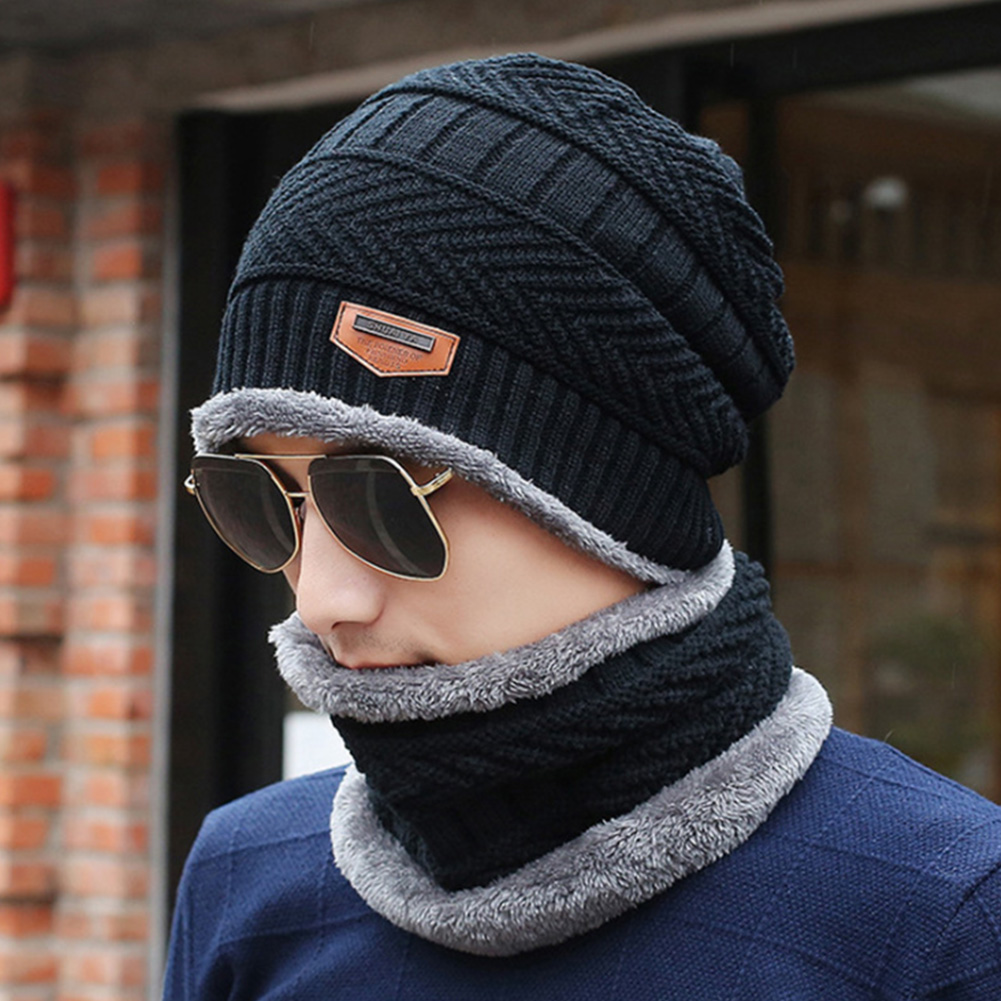 Men Autumn Winter Keep Warm Two Piece Elastic Soft Multifunction Knitting Wool Ski Hat Scarf Set Outdoor Windproof Hiking