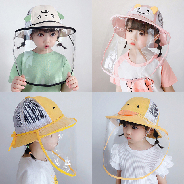 Baby Bucket Hat Protective Full Face Shield Cover Kids Hats Anti Saliva Dustproof Dual-use Sun Hat Cap With Clear Facial Mask 1