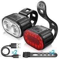 Set di fanali posteriori per bici Set di fari per ricarica USB per bicicletta MTB ciclismo fanale posteriore impermeabile accessori per lanterne a torcia a LED