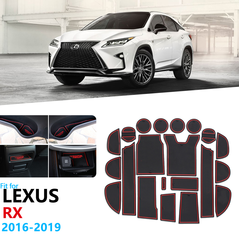 Anti-Slip Rubber Gate Slot Cup Mat For <font><b>Lexus</b></font> <font><b>RX</b></font> 300 200t 450h RX200t RX300 RX450h 2016 2017 2018 <font><b>2019</b></font> Accessories Stickers image