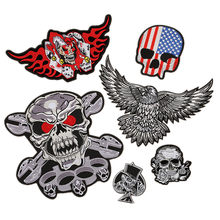 Skull Garment Accessories Punk Patch Ghost Head Embroidered Cloth Stickers Iron on Patches for Clothes Large Patch