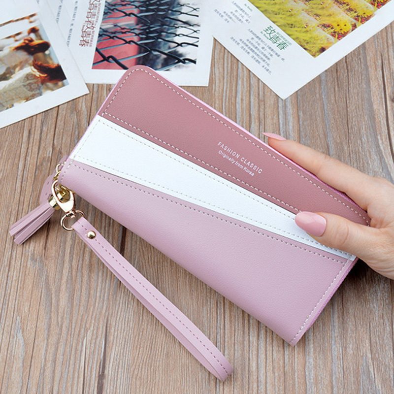 DIHOPE Women's Zipper Closure Spliced Wrist Strap Tassel Wallet For Girls New  Fashion Phone Coin Long Purse Card Holder