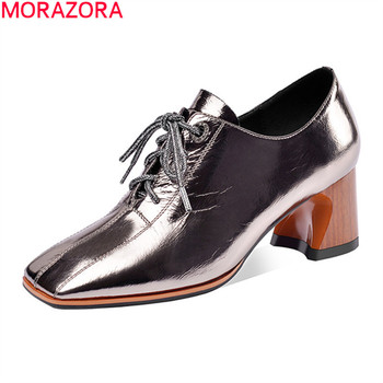 MORAZORA big size 33-41 new style women pumps genuine leather fashion lace up dress shoes thick heels square toe ladies shoes