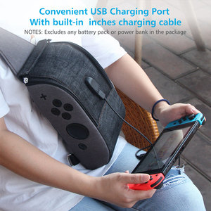 Image 4 - OIVO Storage Bag for Nintendo Switch Console Controller Waterproof Denim Backpack USB Charging Port Large Space Crossbody Bag