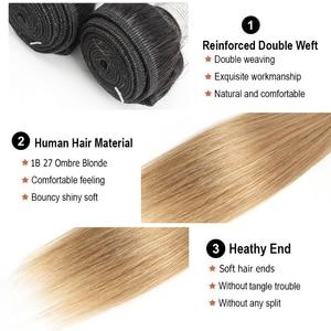 Image 3 - Bobbi Collection 4/6 Bundle avec fermeture 50g / pc Cheveux blonds châtains brésiliens avec fermoir en dentelle Cheveux humains droits et remy