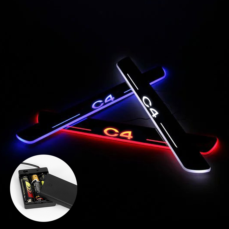 LED Trim Pedal Threshold For <font><b>Citroen</b></font> <font><b>C4</b></font> <font><b>2015</b></font> - 2017 2018 Welcome Light Door Sill Scuff Plate Guards Car Exterior Part by Battery image