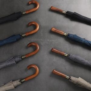 Image 3 - Двойной Ветрозащитный Зонт с длинной деревянной ручкой, с 8 ребрами, для мужчин и женщин