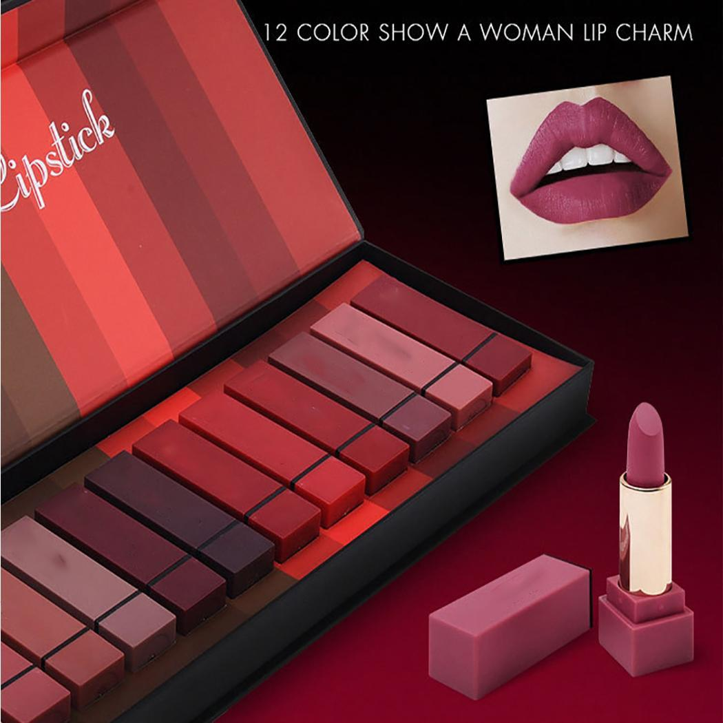 12 Color/Box Portable Matte Lipstick Gradient Square Tube Long Lasting Matte Lipstick Waterproof Easy to Wear For Casual Makeup