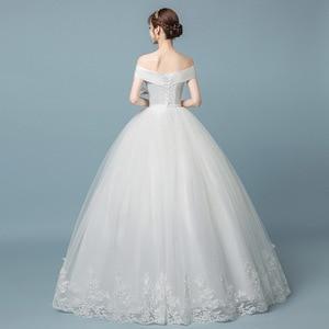 Image 3 - Boot ausschnitt Spitze Hochzeit Kleid 2019 Neue Fashion Floral Print Prinzessin Traum Braut weg von der schulter Koreanische vestido de noiva