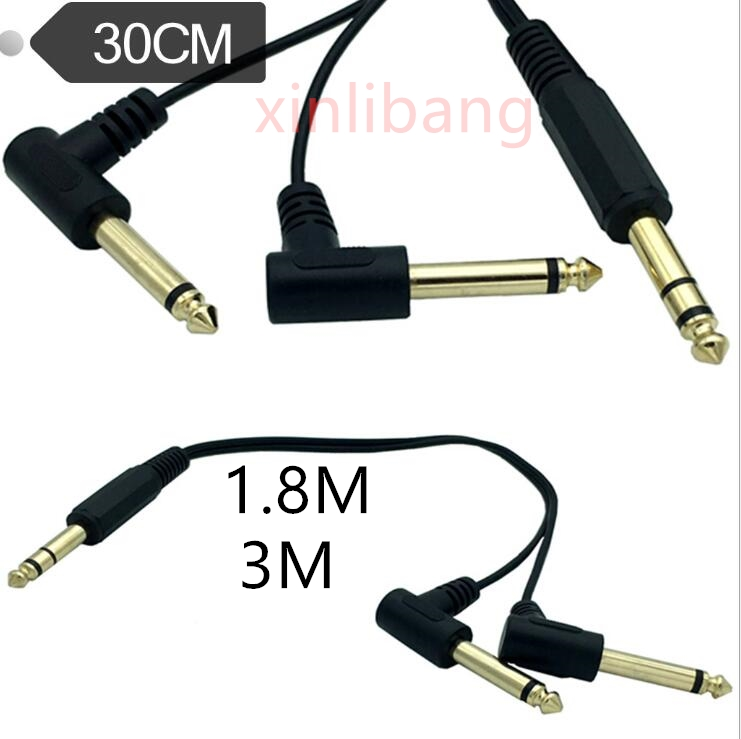 Gold Plated 6.35mm 14 Male TRS Stereo To Dual 2 X 6.35mm 14 Male TS Mono 90 Degree Right Angle Y Splitter Audio Cable 0.3m 1.8M