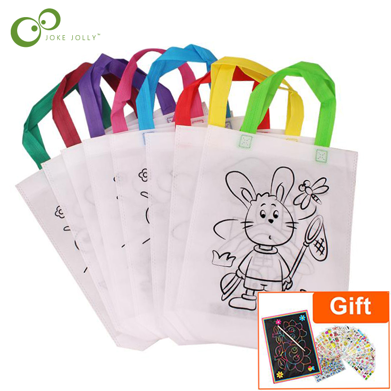 6Pcs Antistress Puzzles Educational Toy for Children DIY Eco-friendly Graffiti Bag Kindergarten Hand Painting Materials GYH(China)
