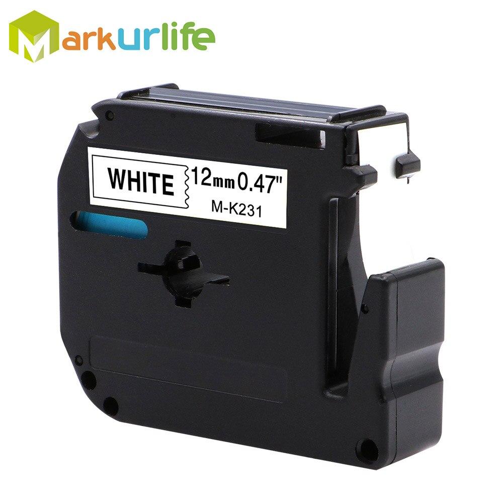 MK231s.x 4m Black//lwhite 4 x GENUINE BROTHER PT55,60,65,75,85,90 TAPES 12mm