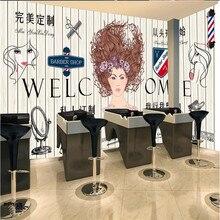 Peluquero privado personalizado papel de pared de peluquería 3D barbería decoración Industrial tablero de madera amarillo fondo Mural papel tapiz 3D