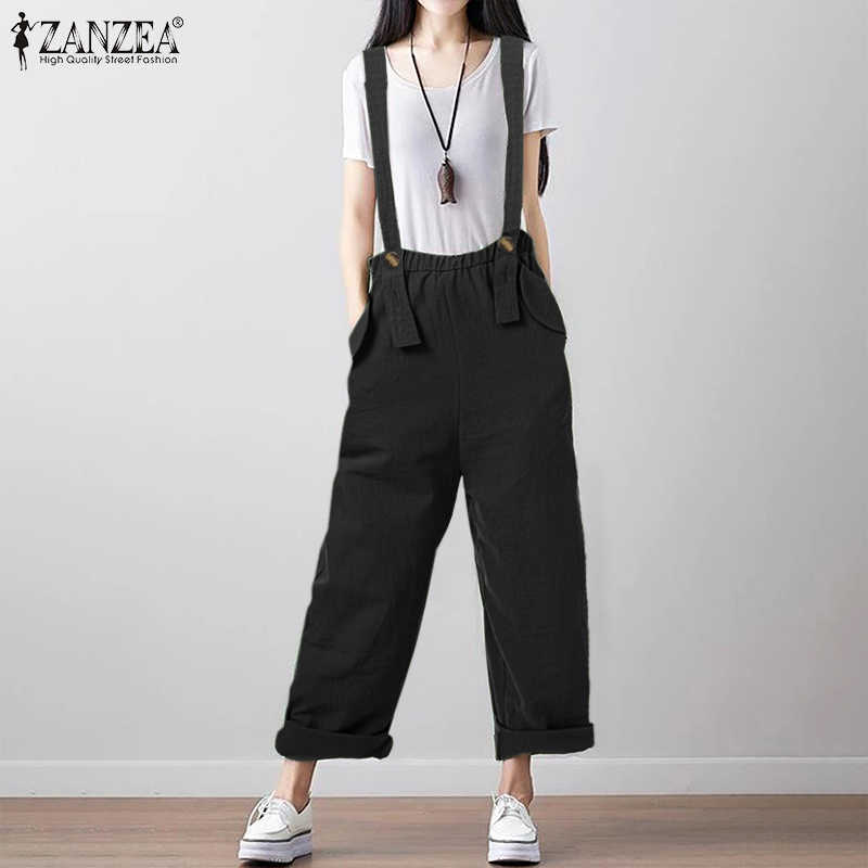 Zanzea 2020 moda feminina casual macacões senhoras sólido bolso solto total playsuits dungarees feminino macacões longo mono 5xl