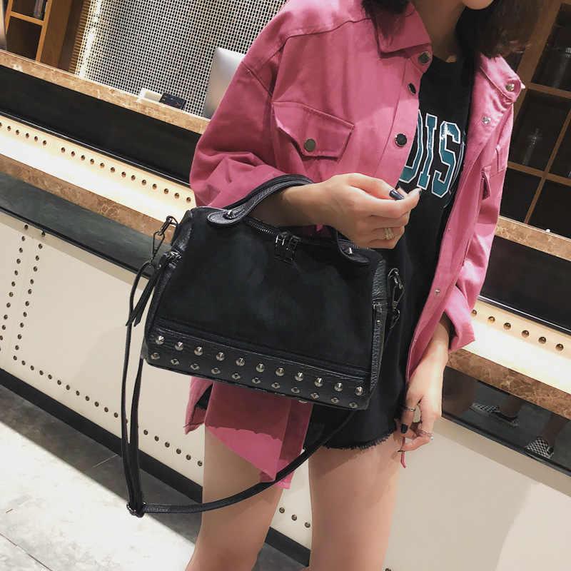 Винтажные женские сумки с заклепками на плечо сумка женская через плечо большие вместительные женские сумки через плечо кожаная Сумка bolso mujer WBS765