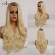 EASIHAIR Blonde Wavy Lace Front Wig Synthetic Wigs for Black Women Body Wave Honey Brown to Blonde Ombre Lace Wig High Density