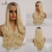 Easihair Blond Golvend Lace Front Pruik Synthetische Pruiken Voor Zwarte Vrouwen Lichaam Wave Honing Brown Blond Ombre Lace Pruik hoge Dichtheid
