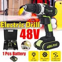 Taladro eléctrico inalámbrico de 48V, destornillador recargable de mano, juego de herramientas y funda con 2 baterías, 25 + 3 turcas