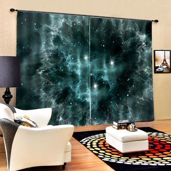 Drapes Cortinas Luxury Blackout 3D Window Curtains For Living Room Bedroom Customized size green star curtains