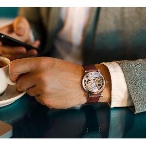 Image 5 - الفائز شفاف الذهبي حافظة فاخرة عادية تصميم براون حزام من الجلد رجالي ساعات العلامة التجارية الفاخرة ساعة ميكانيكية موديل سكيلتون