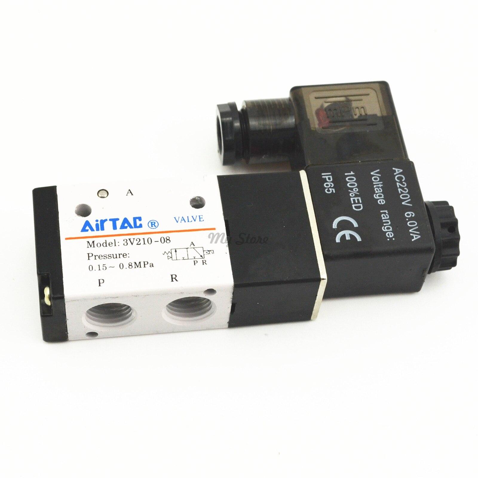 Pneumatic 3 Way 2 Position Air Directional Control Solenoid Valve 3V210-08 DC12V DC24V AC110V AC220V
