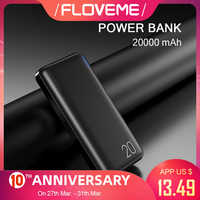 Floveme 20000 mah power bank powerbank para xiao mi bateria externa carregador portátil duplo usb mi poverbank bateria externa movil