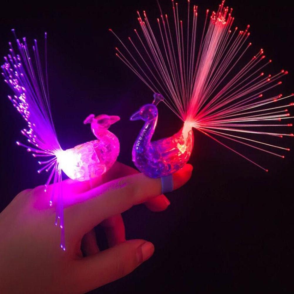 3Pcs Novelty LED Peacock Finger Light Light-up Rings Kids Party Gadgets Toys