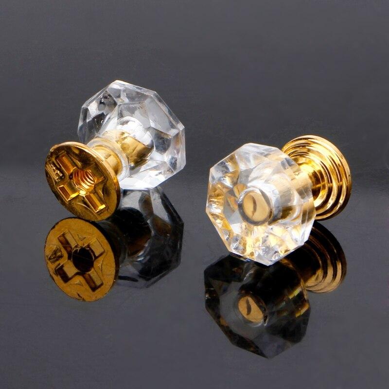 10PCS Diamond Shape Crystal Glass Cabinet Knob Drawer Pull Handle For Jewelry Box