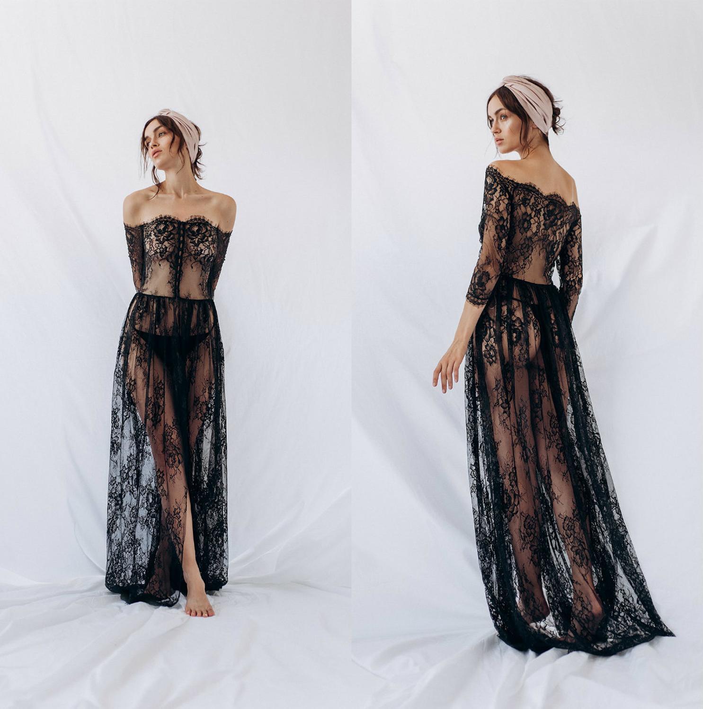 Black Women Sleepwear Bathrobe Boudoir Dress Lace A Line Kimono Dressing Gown Babydoll Sexy Lingerie Bath Robes De Mariée