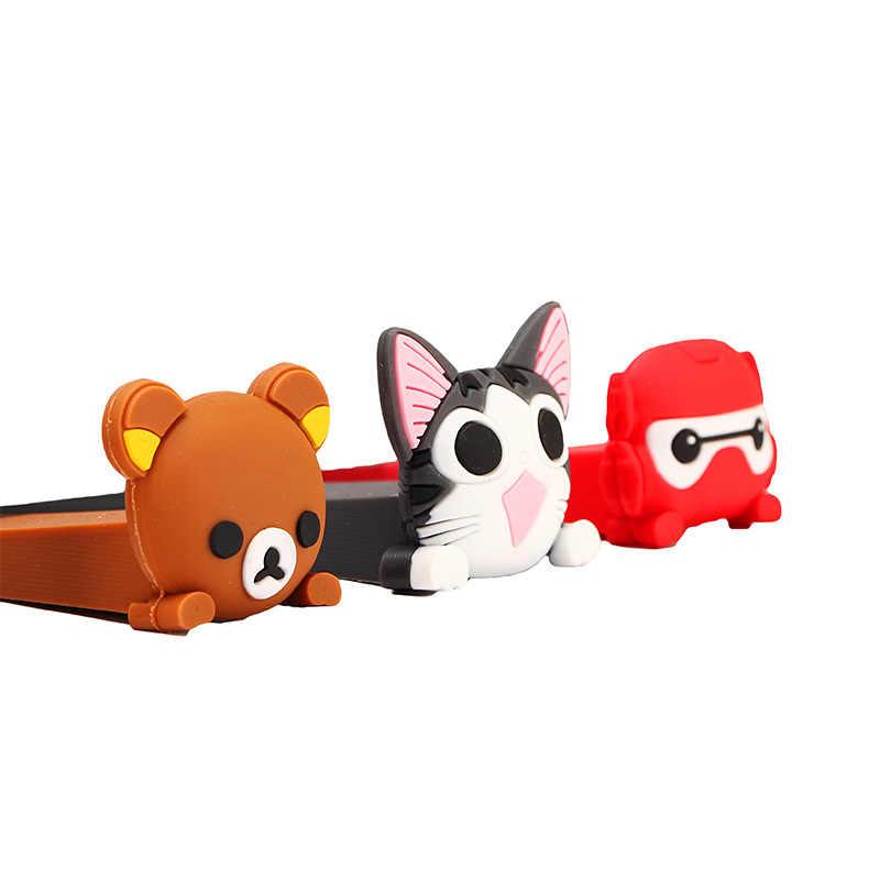 1 pçs dos desenhos animados silicone porta rolha cunha porta bloco de escritório em casa chryldren crianças bonito cartão de segurança urso armadura forma gato