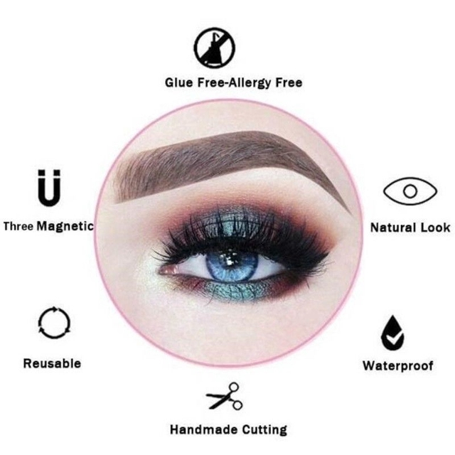 3D Magnetic Eyelashes with 3 Magnets Magnetic Lashes Natural Long False Eyelashes Magnet Eyelash Extension Makeup Tools 3