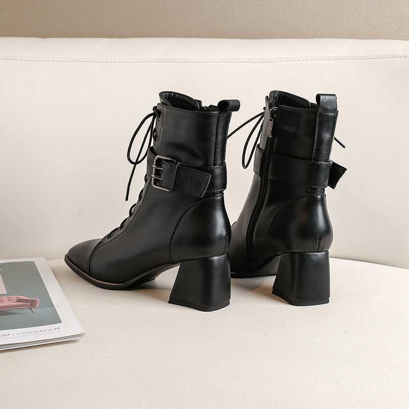 Image 3 - Krazing Pot office lady square toe genuine leather lace up belt  buckle high heels winter keep warm women black ankle boots L4f3Ankle  Boots