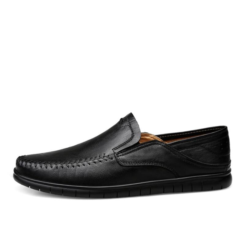 Erkek Ayakkabi Mocasines Hombre Genuine Leather Casual Fashion Driver Slip On Leisure Size Heren Schoenen