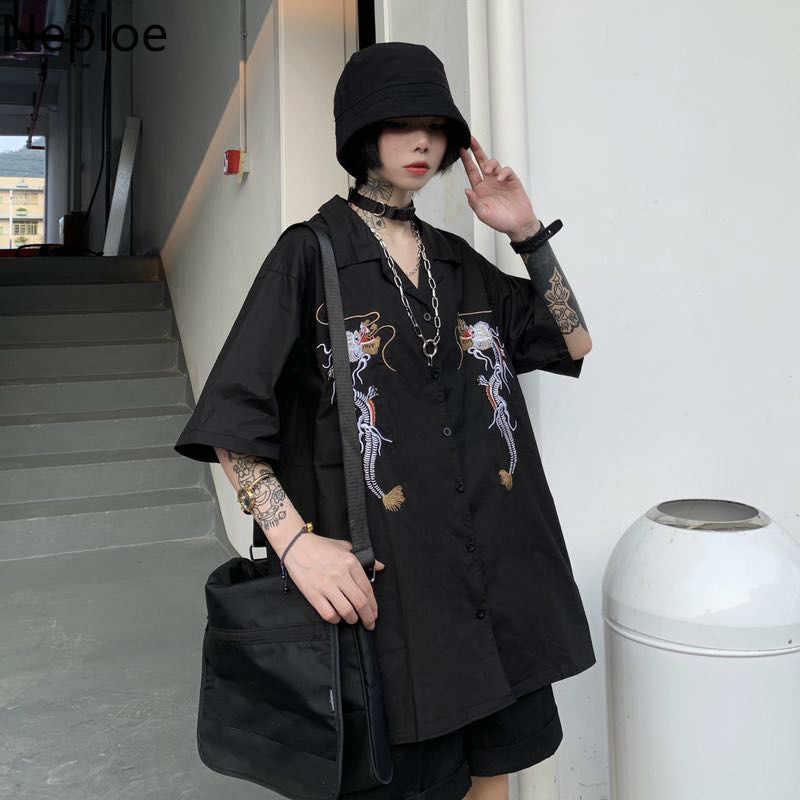 Neploe Harajuku Punk โกธิคสีดำเสื้อ 2020 ผู้หญิงเกาหลีเย็บปักถักร้อย Dragon VINTAGE เสื้อลำลอง Streetwear 39311