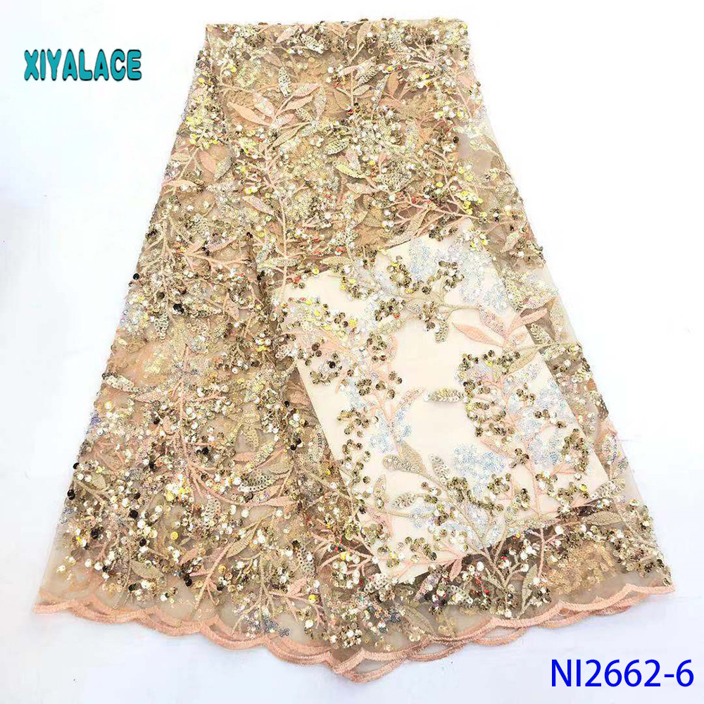 Golden High Quality Swiss Voile Laces In Switzerland Sequins African Dry Cotton Lace Fabric Nigerian Voile Lace 5Yard YANI2662-6