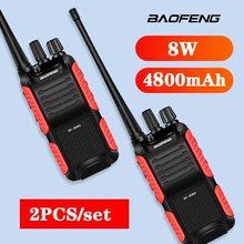 2pcs 8 BF-999S Baofeng Two-way Radio walkie talkie W/4800nAh CB Rádio Transceptor FM walkie-talkie рация
