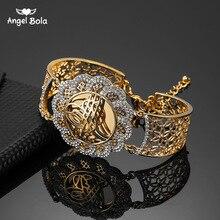 Muzułmanin Islam prezent ślubny bliski wschód biżuteria bransoletki Arab Allah bransoletka Vintage złoty kolor kwiat szeroki mankiet Bangle