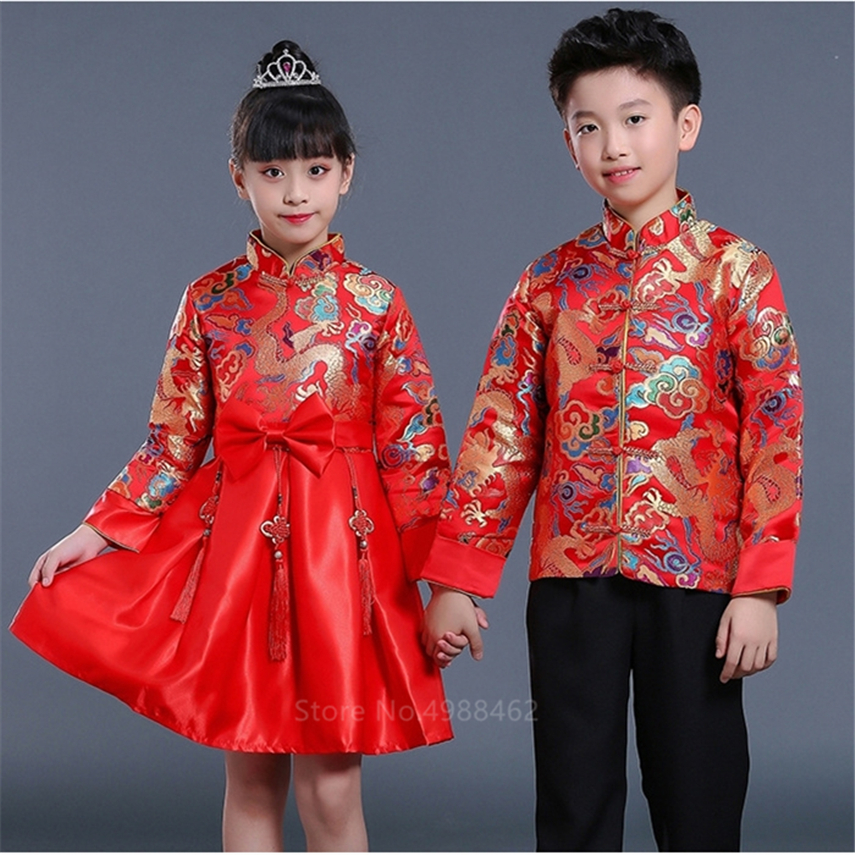 2020 Boy Girl Chinese New Year Clothes Traditional Dragon Embroidery Tang Suit Kids Stage Party Festival Oriental Hanfu Clothing