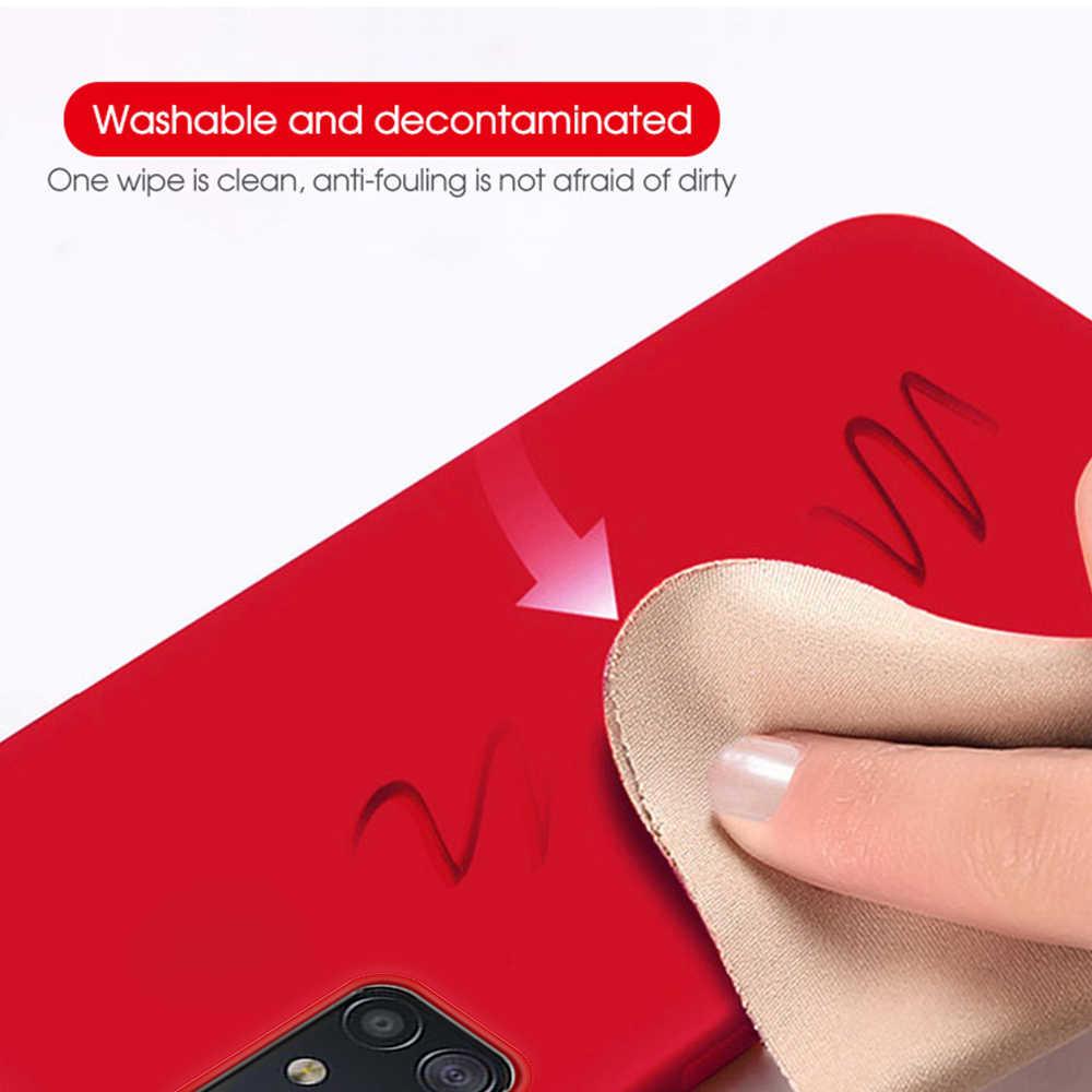 Kasus Silikon Cair untuk Samsung A50 A70 A30 A40 A60 A20 Case Warna Case Telepon untuk Samsung Galaxy A60 A20 m40 A51 A71 Penutup Belakang