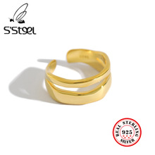 Irregular Sterling Silver Korea Rings For Women Resizable Handmade Bague Femme Argent 925 Accesorios Mujer Moda 2019 Jewelry